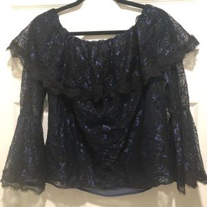 WHBM black and blue lace top